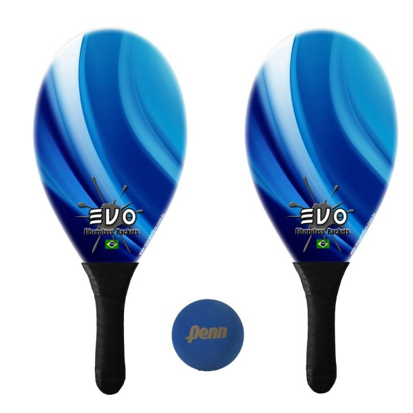 Kit Raquetes Frescobol Evo Fibra Vidro Blue com Bola Penn