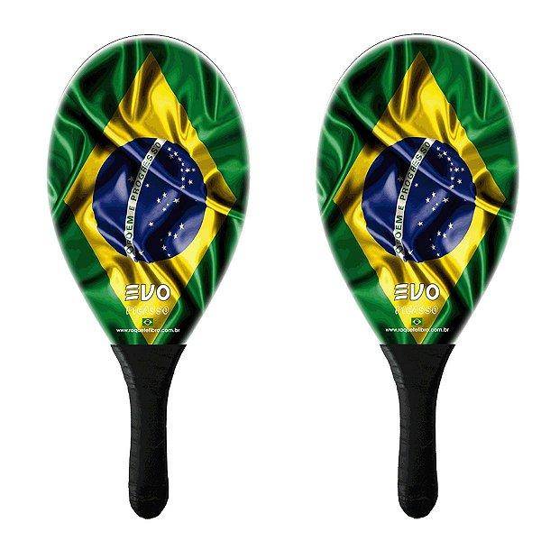Kit Frescobol 2 Raquetes Fibro De Vidro Evo Brasil