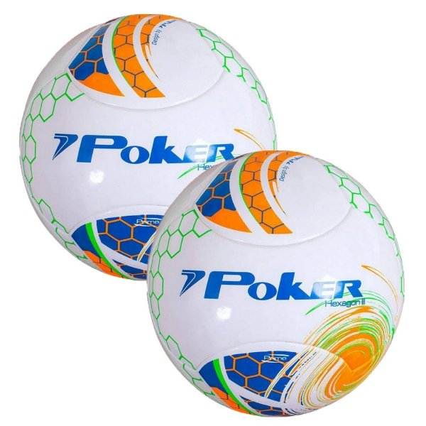 Kit 2 Bolas Futebol Poker Hexagon III Prime