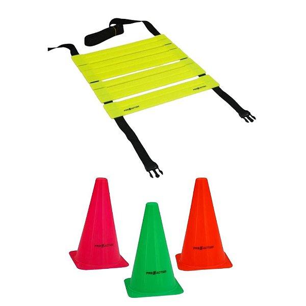 Kit Funcional Escada Agilidade Cones Treino Proaction