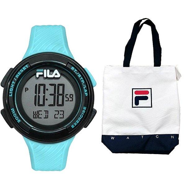 Relógio Fila Pedometro Digital Azul Claro Com Bolsa