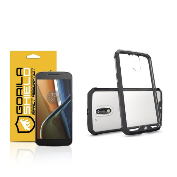 Kit Capa Ultra Slim Air Preta e Película de vidro dupla para Motorola Moto G4 - Gorila Shield