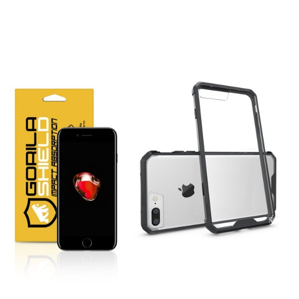 Kit Capa Ultra Slim Air Preta e Película de vidro dupla para Iphone 7 Plus  – Gorila Shield