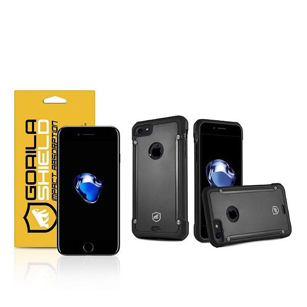 Kit Capa Black Shield e Película de vidro dupla para iPhone 7 - Gorila Shield
