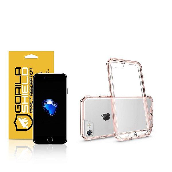 Kit Capa Ultra Slim Air Rosa e Película de vidro dupla para iPhone 7 - Gorila Shield