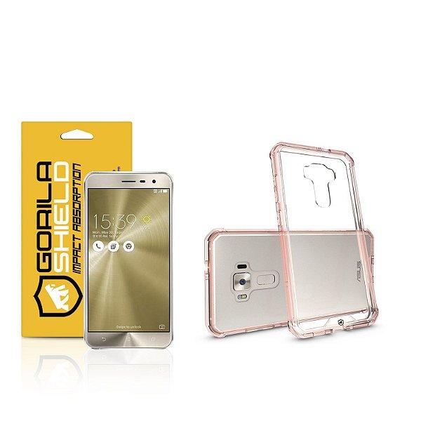 Kit Capa Ultra Slim Air Rosa e Película de vidro dupla para Asus Zenfone 3 - ZE552KL - Gorila Shield
