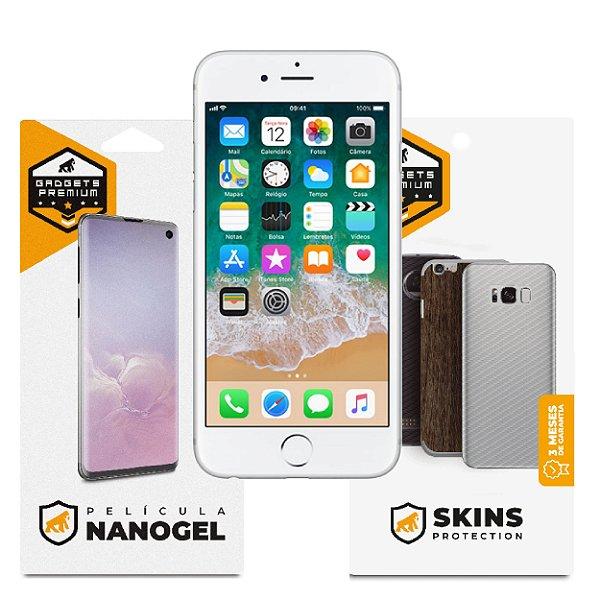 Película Nano Gel Dupla + traseira fibra de carbono para iPhone 6 e 6s - Gshield (Cobre toda tela)