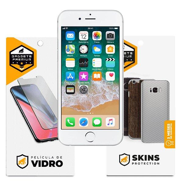 Película de Vidro Dupla + Traseira Fibra de Carbono para iPhone 6 e 6s - Gshield