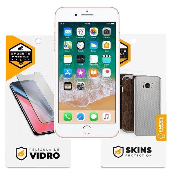 Película de Vidro Dupla + Traseira Fibra de Carbono para iPhone 7 Plus - Gshield