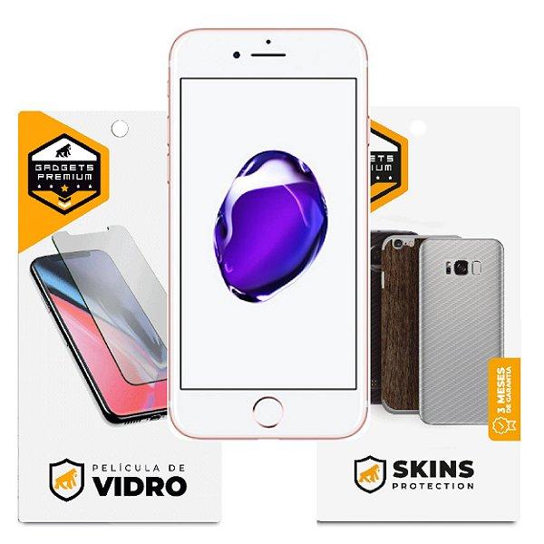 Película de Vidro Dupla + Traseira Fibra de Carbono para iPhone 7 - Gshield