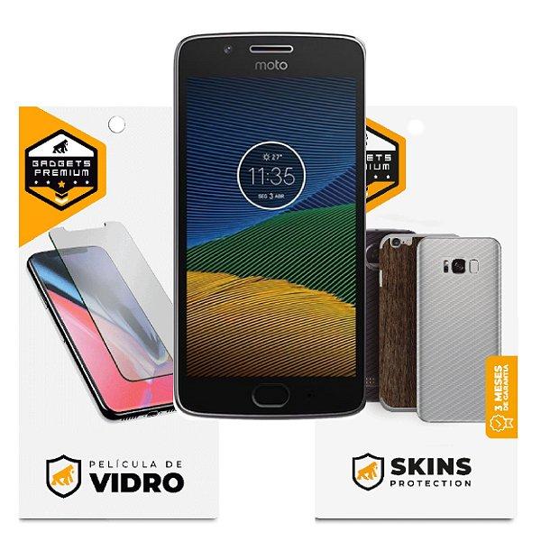 Película de Vidro Dupla + Traseira Fibra de Carbono para Motorola Moto G5 - Gshield