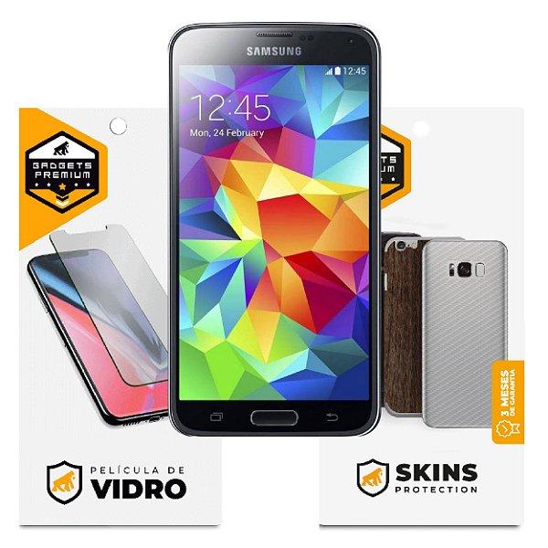 Película de Vidro Dupla + Traseira fibra de carbono para Samsung Galaxy S5 - Gshield