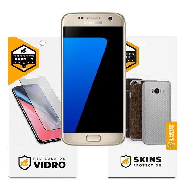 Película de Vidro Dupla + Traseira fibra de carbono para Samsung Galaxy S7  - Gshield - (Não cobre a curvatura da tela)