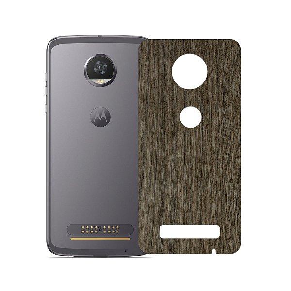Skin Película Traseira Madeira Escura para Motorola Moto Z2 Play - Gorila Shield