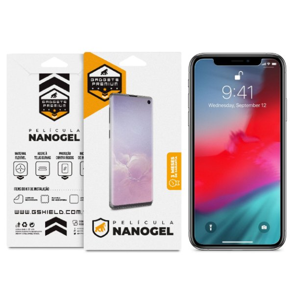 Película Nano Gel Dupla para Iphone X e XS – Gshield (Cobre toda tela)