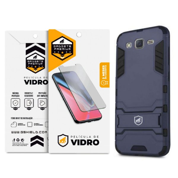 Kit Capa Armor e Película de Vidro Dupla para Samsung Galaxy J5 Metal - Gshield
