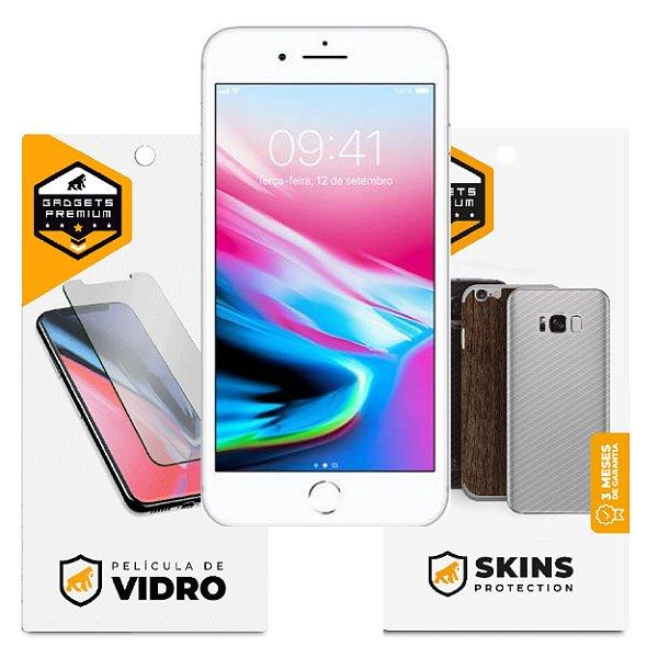 Película de Vidro Dupla + Traseira Fibra de Carbono para iPhone 8 - Gshield