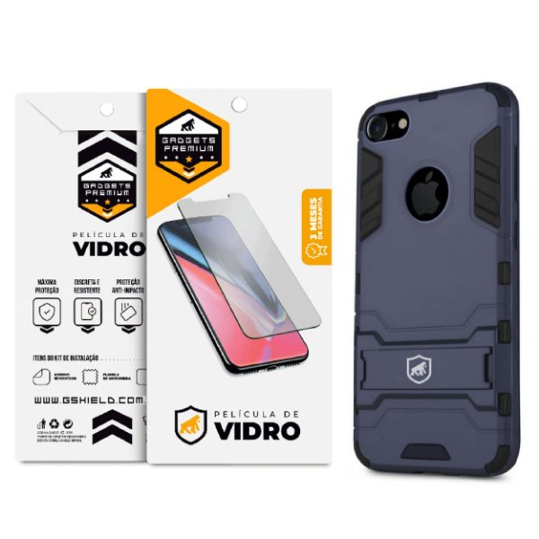Kit Capa Armor e Película de Vidro Dupla para iPhone 8 - Gshield