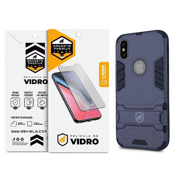 Kit Capa Armor e Película de Vidro Dupla para iPhone X e XS - Gshield