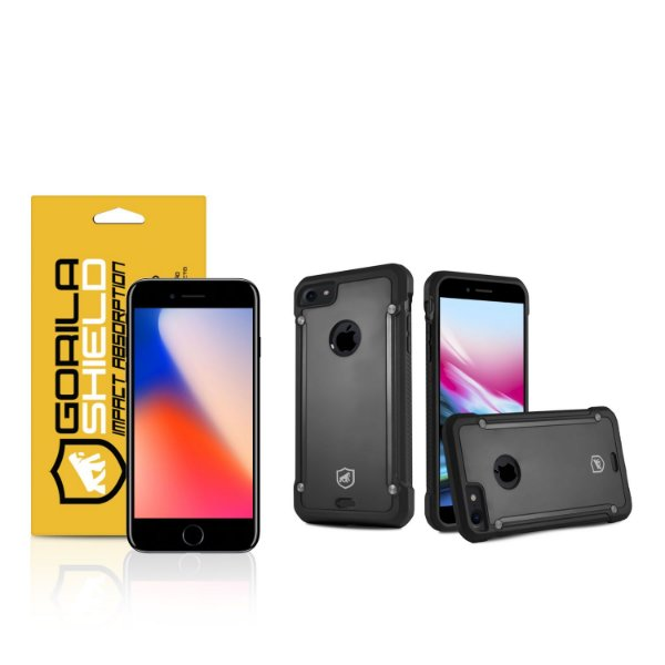 Kit Capa Black Shield e Película de vidro dupla para iPhone 8 - Gorila Shield
