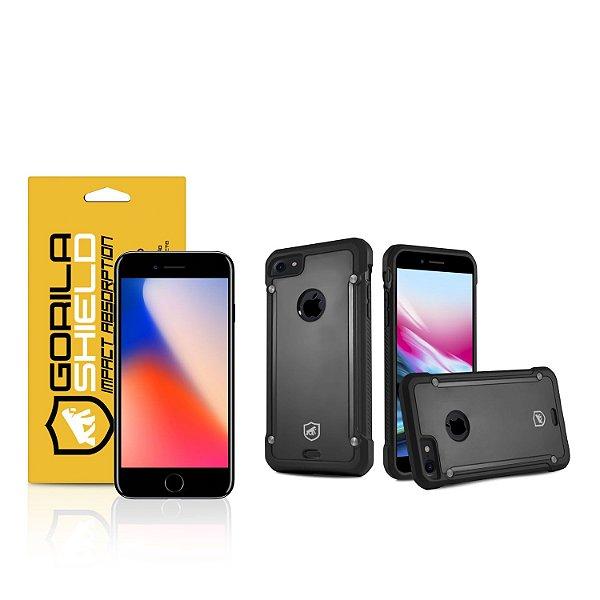 Kit Capa Black Shield e Película de vidro dupla para iPhone 8 - Gorila Shield