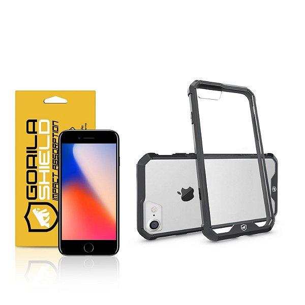 Kit Capa Ultra Slim Air Preta e Película de vidro dupla para Iphone 8 – Gorila Shield