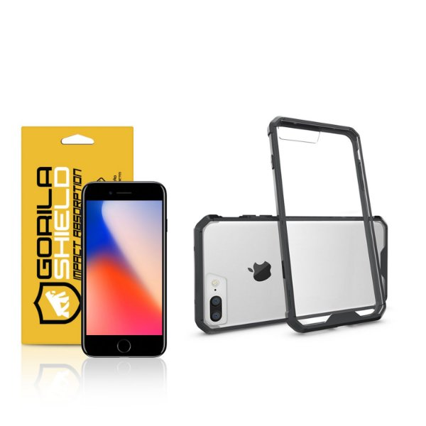 Kit Capa Ultra Slim Air Preta e Película de vidro dupla para Iphone 8 Plus – Gorila Shield