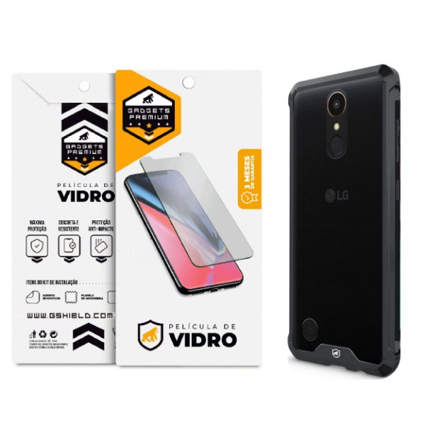 Kit Capa Ultra Slim Air Preta e Película de vidro dupla para LG K10 2017 - Gshield