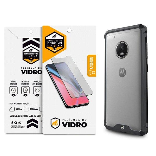 Kit Capa Ultra Slim Air Preta e Película de vidro dupla para Motorola Moto G5 Plus - Gshield