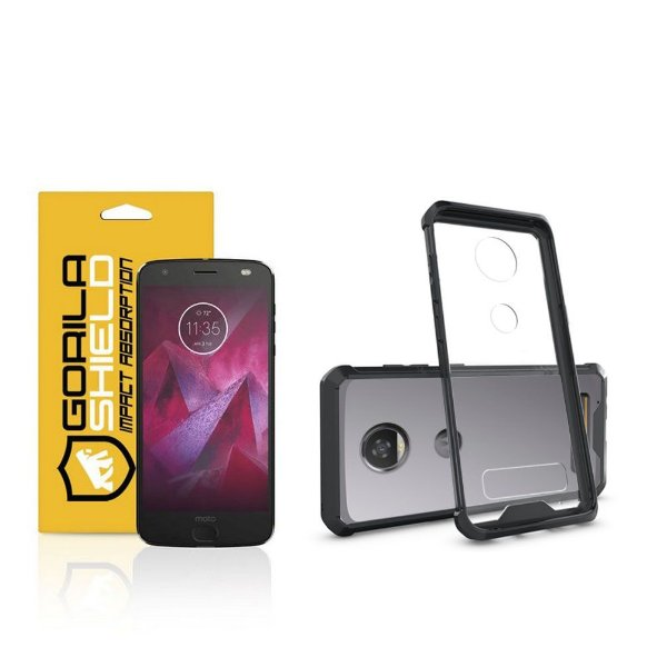 Kit Capa Ultra Slim Air Preta e Película de vidro dupla para Motorola Moto Z2 play - Gorila Shield
