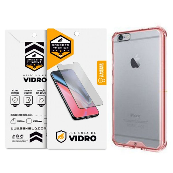 Kit Capa Ultra Slim Air Rosa e Película de vidro dupla para iPhone 6s plus - Gshield