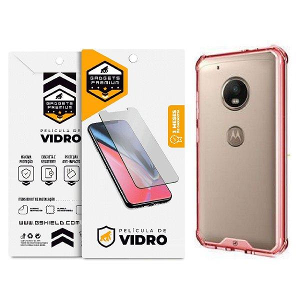 Kit Capa Ultra Slim Air Rosa e Película de vidro dupla para Motorola Moto G5S - Gshield