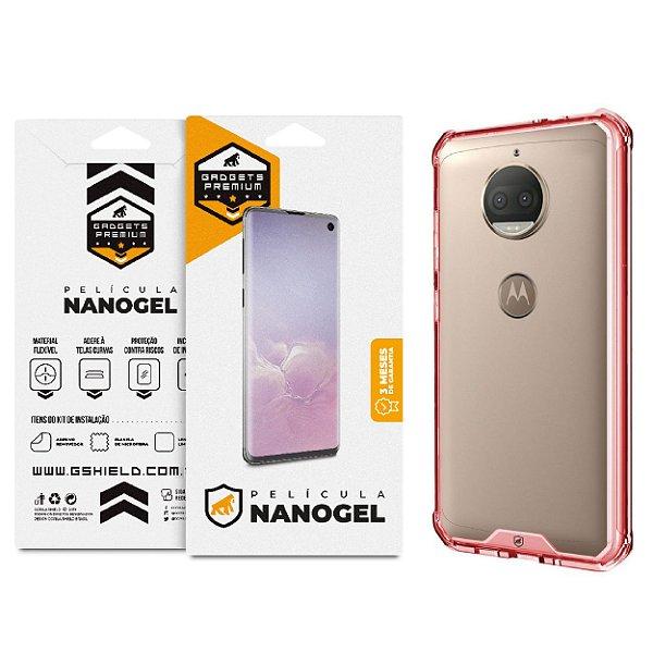 Kit Capa Ultra Slim Air Rosa e Película Nano gel dupla para Motorola Moto G5S Plus - Gshield