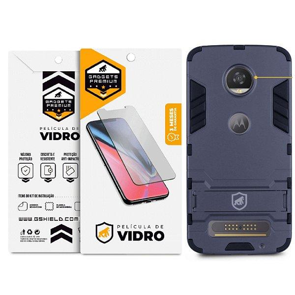 Kit Capa Armor e Película de Vidro Dupla para Motorola Moto Z2 Play - Gshield
