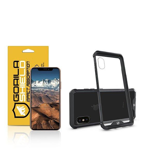 Kit Capa Ultra Slim Air Preta e Película de vidro dupla para Iphone X e XS - Gorila Shield