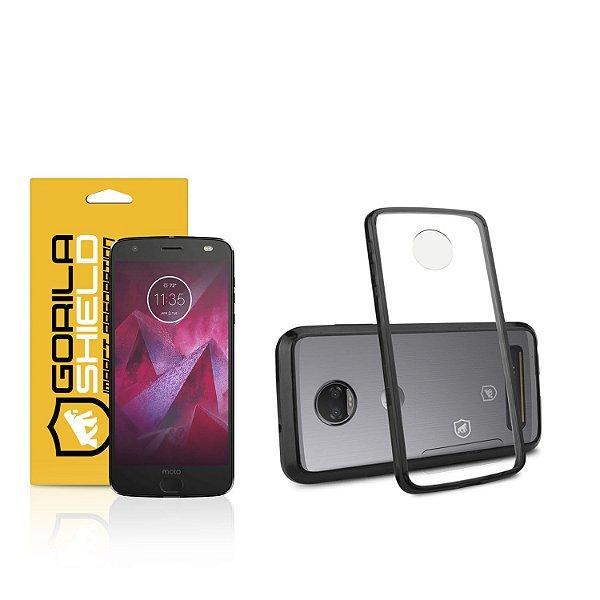 Kit Capa Ultra Slim Air Preta e Película de vidro dupla para Motorola Moto Z2  Force  - Gorila Shield