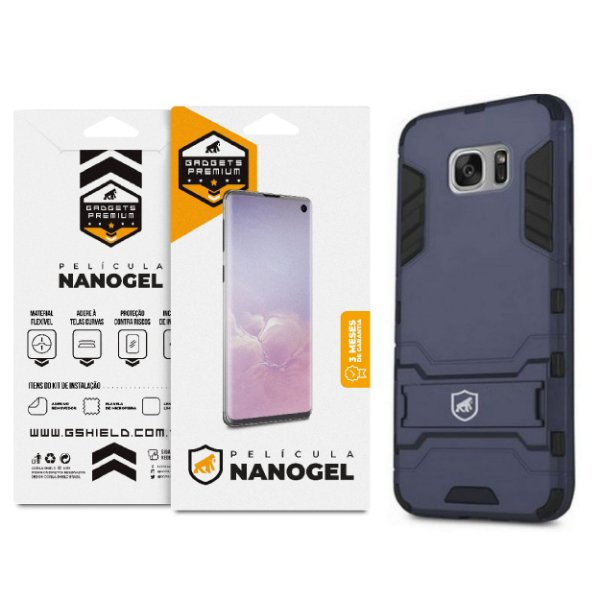 Kit Capa Armor e Película de Nano Gel dupla para Samsung Galaxy  S7 Edge - Gshield