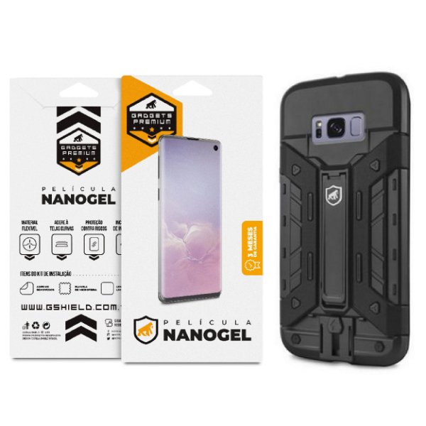 Kit Capa Guardian e Película de Nano Gel dupla para Samsung Galaxy S8 Plus - Gshield