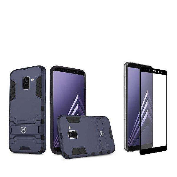 Kit Capa Armor e Película Coverage Preta para Galaxy A8 - Gshield