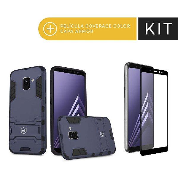 Kit Capa Armor e Película Coverage Preta para Galaxy A8 Plus - Gorila Shield