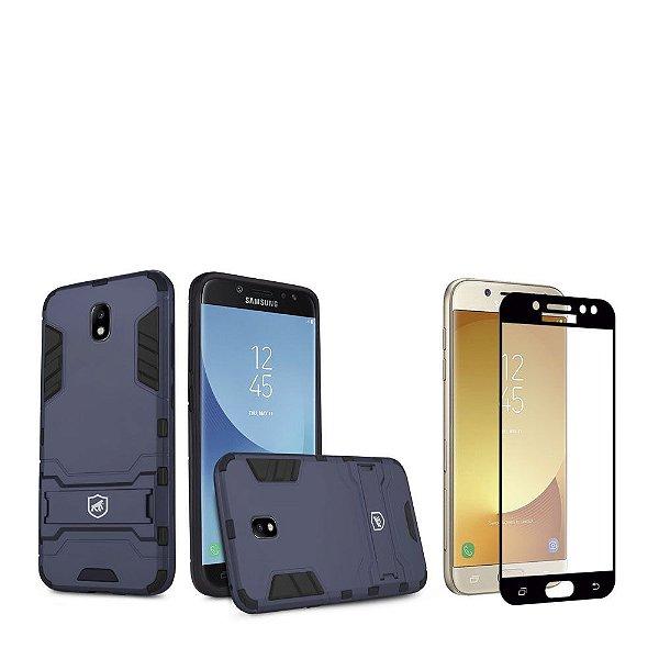 Kit Capa Armor e Película Coverage Preta para Galaxy J7 Pro - Gorila Shield