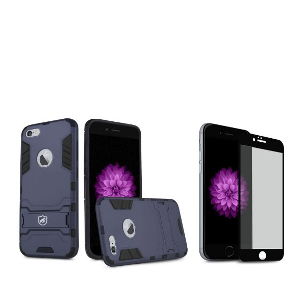 Kit Capa Armor e Película Coverage Preta para iPhone 6S - Gorila Shield