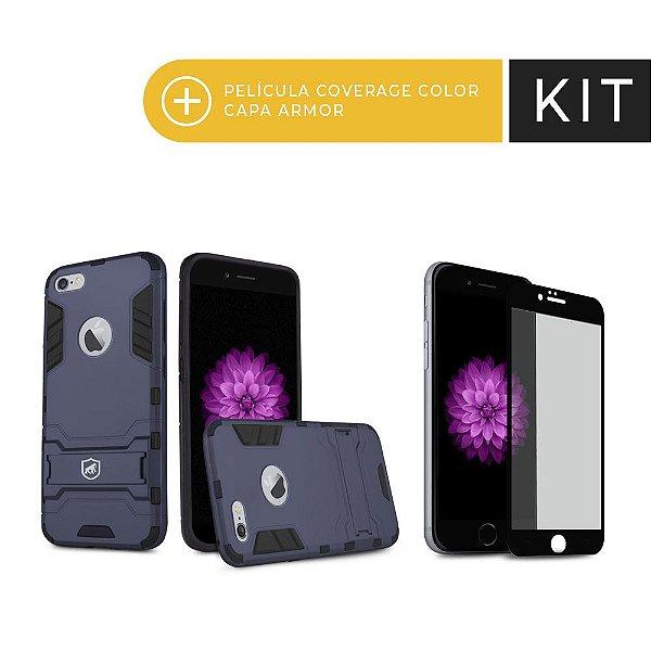 Kit Capa Armor e Película Coverage Preta para iPhone 6S - Gorila Shield