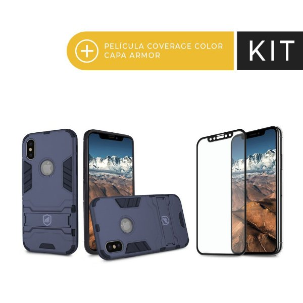 Kit Capa Armor e Película Coverage Preta para iPhone X - Gorila Shield