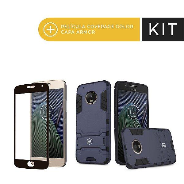 Kit Capa Armor e Película Coverage Preta para Moto G5 Plus - Gshield