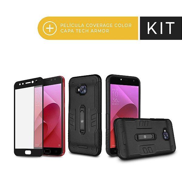 Kit Capa Tech Armor e Película Coverage Preta para Zenfone 4 Selfie Pro - Gorila Shield (Serve apenas para o Zenfone 4 Selfie Pro)