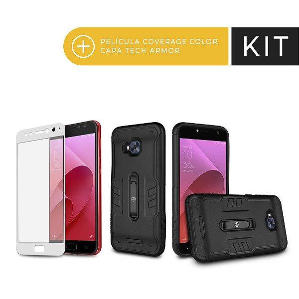 Kit Capa Tech Armor e Película Coverage Branca para Zenfone 4 Selfie Pro - Gorila Shield (Serve apenas para Zenfone 4 Selfie Pro)