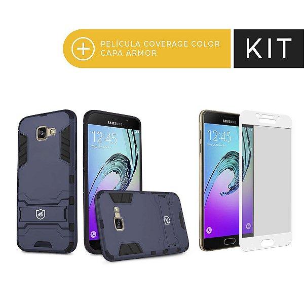 Kit Capa Armor e Película Coverage Branca para Galaxy A7 2017 - Gorila Shield