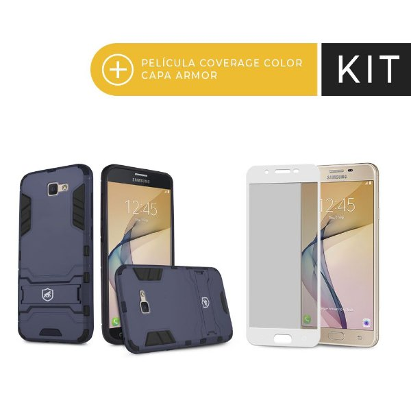 Kit Capa Armor e Película Coverage Branca para Galaxy J5 Prime - Gorila Shield