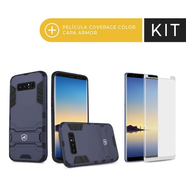 Kit Capa Armor e Película Coverage Branca para Galaxy Note 8 - Gorila Shield